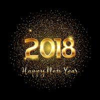 Fundo de texto feliz ano novo ouro vetor
