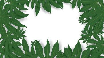folhas verdes de fundo vector. folhas verdes, espaço limite para texto.
