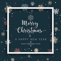 Fundo de Natal e ano novo com flocos de neve e decorativos vetor