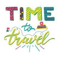 hora de viajar letras vetor