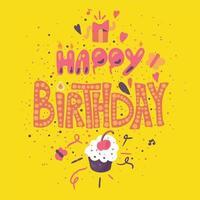 cartão de feliz aniversário com bolinho vetor