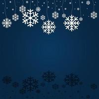 cartão de feliz natal e boas festas com fundo azul e flocos de neve vetor