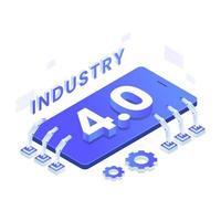 conceito de ilustração isométrica do vetor indústria 4.0