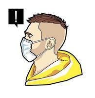rosto de homem em máscara respiratória