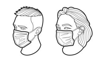 rosto em vetor de máscara