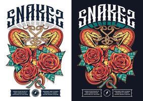 desenho de pôster com duas cobras vetor