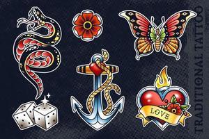 conjunto de vetores de artes tradicionais de tatuagem