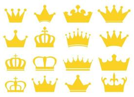 conjunto de ilustração vetorial coroa real isolado no fundo branco vetor