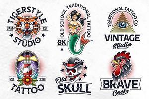 emblemas de vetor de tatuagem da velha escola