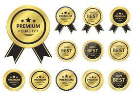 conjunto de ilustração de design de vetor de emblema dourado de qualidade premium isolado no fundo branco