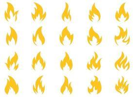 Ilustração em vetor ícone fogo conjunto isolado no fundo branco
