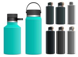 ilustração de desenho vetorial garrafa de água esporte conjunto isolado no fundo branco vetor