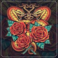 arte vetorial de cobras com rosas vetor