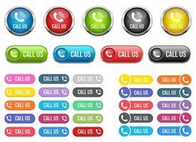 chame-nos botão ilustração vetorial design conjunto isolado no fundo branco vetor