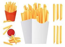 Conjunto de ilustração vetorial de batata frita isolado no fundo branco vetor