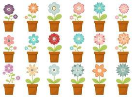 flor para casa no pote ilustração vetorial design conjunto isolado no fundo branco vetor
