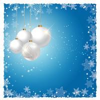 Baubles de Natal no fundo do floco de neve vetor