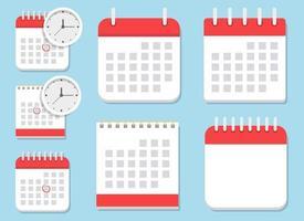 ilustração de design de vetor de ícone de calendário conjunto isolado em fundo azul
