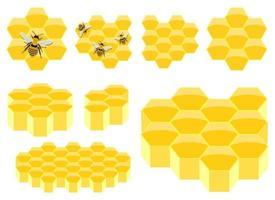 ilustração em vetor favo de mel conjunto isolado no fundo branco