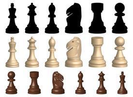 Jogo de xadrez de peças de ilustração vetorial conjunto isolado no fundo branco vetor
