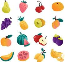 conjunto divertido de frutas de verão vetor