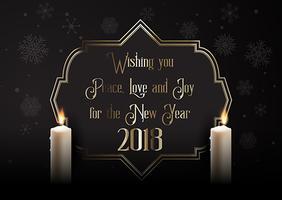 Fundo elegante feliz ano novo com velas vetor