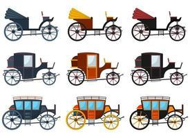 ilustração em vetor carruagem retrô conjunto isolado no fundo branco