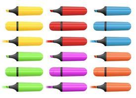 conjunto de marcadores coloridos conjunto de ilustração de design isolado no fundo branco vetor