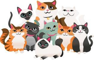 grupo de gatinhos super fofos de desenho animado vetor