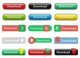 botão de download conjunto de ilustração de desenho vetorial isolado no fundo branco vetor
