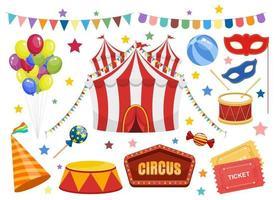 conjunto de elementos de circo vetor