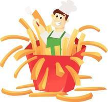 desenho animado francês batata frita surpresa chef vetor