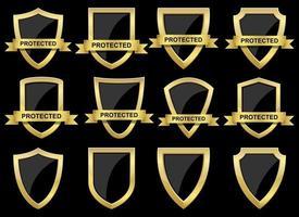 ilustração do projeto do vetor do escudo de proteção conjunto isolado no fundo