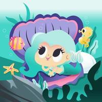 Sereia super fofa deitada com uma concha gigante debaixo d'água vetor