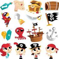 conjunto de aventura pirata super fofo vetor
