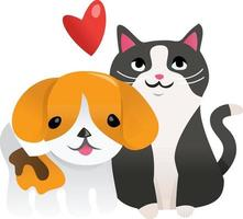 desenho animado cachorrinho gatinho apaixonado vetor