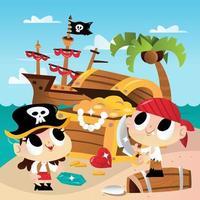 aventura super fofa de caça ao tesouro na ilha pirata vetor