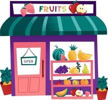loja de frutas de desenho animado vetor