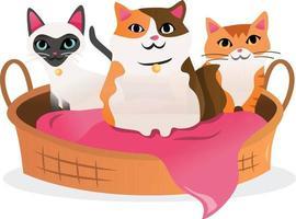 desenho de três gatos na cama do animal de estimação vetor