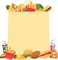 saco de papel super divertido fast food copyspace vetor