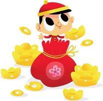 menino super fofo do ano novo chinês com bolsa dourada vetor