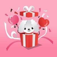 desenho animado de cachorro maltês em caixa surpresa para presente vetor