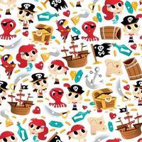 super fofo pirata aventura sem costura de fundo vetor
