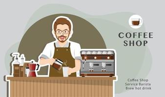 conceito de barista de serviço de cafeteria vetor