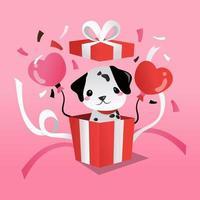 desenho animado cachorro dálmata em caixa surpresa para presente vetor