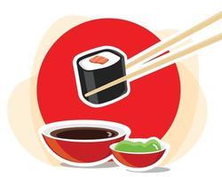 pauzinhos com sushi roll vetor