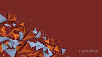 desenho triângulo forma 3d realista. espaço futurista. ilustração de fundo vetorial vetor