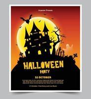 fundo de festa de noite de halloween com lua cheia