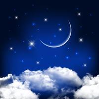 Fundo do céu à noite com lua acima de nuvens