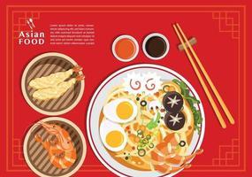 sopa tradicional chinesa com macarrão conceito de comida asiática vetor